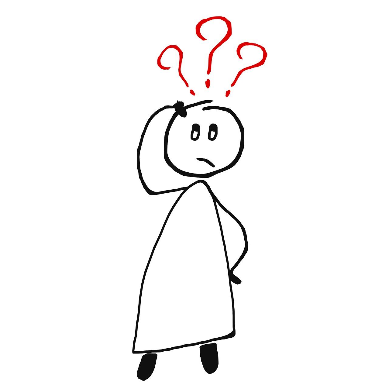 Strichmännchen mit Fragezeichen