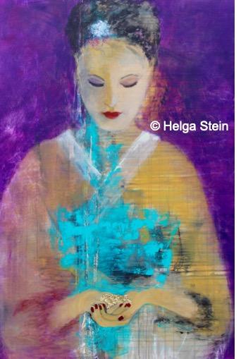 Frau mit Gold in den Händen