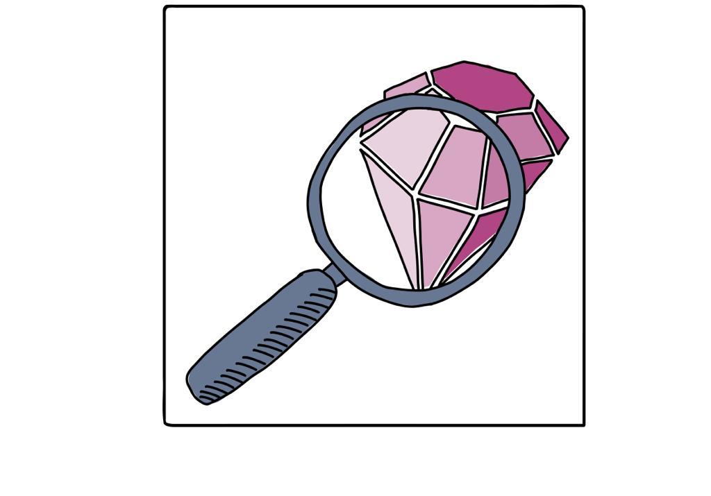 Lupe über Diamant