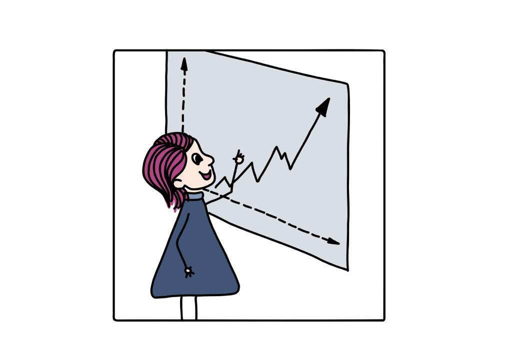 Frau steht vor Tafel mit aufsteigendem Pfeil